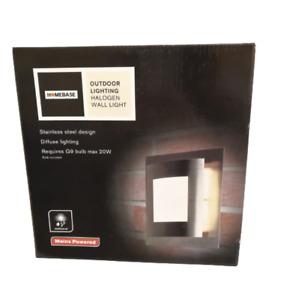 Halogen Mains Powered Wall Light Outdoor Stainless Steel Weatherproof +Bulb