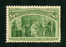 UNITED STATES  1893 SCOTT#243  $3 COLUMBIAN  VF/XF MINT NEVER HINGED W/CREASE