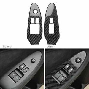 2Pcs Carbon Fiber Window Lift Switch Panel Frame Trim For Nissan 370Z 2009-2020
