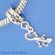 GECKO LIZARD .925 Sterling Silver EUROPEAN EURO Dangle Bead Charm MADE IN USA