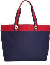 NWT Tommy Hilfiger Large Canvas Tote Navy/Red Handbag Purse