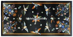 3'x2' Marble Dining Table Top Multi Stone Birds Mosaic Inlay Interior Decor B055