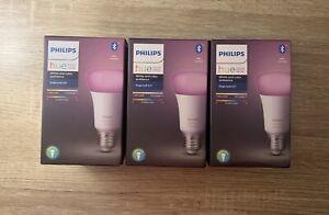 3 X PHILIPS HUE E27 White & Colour Ambiance Bluetooth Bulb  *New & Sealed*