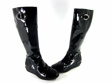 COLE HAAN WOMEN'S AIR MELANIE KNEE-HIGH RAIN BOOTS LEATHER BLACK US SIZE 6 MED