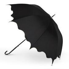 Ladies Black Scallop with Ivory Trim Walking Umbrella