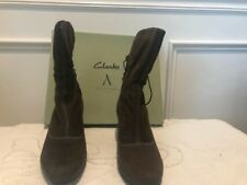 Clarks Artisan Alpine Andi Brown Suede Leather Ankle Boots Heel Size 10 M