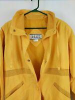 VTG 80s IZZI  Women's Jacket Yellow Retro Gold Bomber Style Snap Front  SMALL