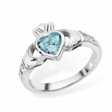 Irish Claddagh Ring Sterling Silver Blue Topaz Friendship Love 925 hallmarked