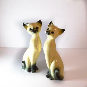 Pair of Mid Century Vintage Grizelle Porcelain Cat Figurines JAPAN Retro 22 cm