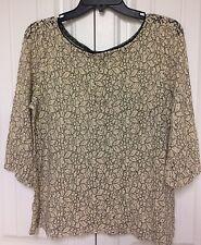 Ann Taylor Loft Beige And Black Floral Net Button Up Back Blouse Size L