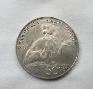 BELGIUM 50 centimes 1901 About UNC Dutch type