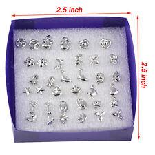 1 Boîte Lot 18 Paire de Boucles d'oreilles Clou Alliage 925 Argent Plaqué Bijoux