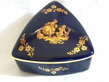 VINTAGE LIMOGES BLUE & GOLD TRIANGLE TRINKET BOX, MADE IN FRANCE. RARE