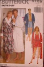 NEW +VINTAGE 1996 BUTTERICK SHAWL COLLAR ROBE ++ SEWING PATTERN 5189 SIZES XSM-M