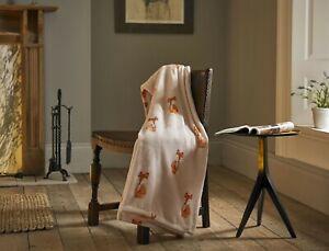 Supersoft Flannel Fleece Throw Pale Pink with Shy Fox Design 130cm x 180cm