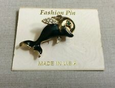 Vintage Made In Usa Crystal Dolphin Pin New on Jewelry Card!