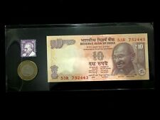 India 10 Rupee Gandhi New Bill, Unused Gandhi Stamp, and Used 10 Rs Coin