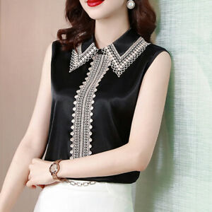 Women Satin Blouse Shirt Lace Trim Lapel Neck Sleeveless Office Business Casual