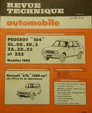Neuve de stock !!!!  Revue technique PEUGEOT 104 GL GR ZS ZS2 SR ZA RTA 401 1980