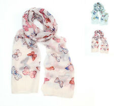 Poppy Scarf ~  Pastel coloured Butterfly design, finished with a rolled edge.