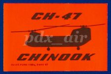 RARE  BOEING CH-47 CHINOOK TANDEM ROTOR HEAVY-LIFT HELICOPTER NEON SMALL STICKER