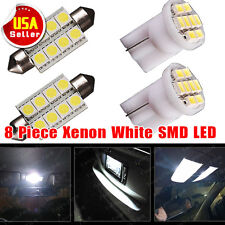 8PCS White LED light 42mm 211-2 Map Dome & T10 Tag Lamp for Interior Package Kit