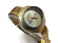 ORIGINAL USSR Russian Gold plated mens watch Poljot STADIUM Olympics bracelet AU