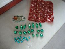 JOB LOT OF VINTAGE  CHRISTMAS DECORATIONS GREEN   BAUBLES AND SIGN