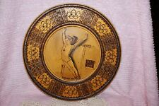 1976 Vintage Nadia Comaneci Wood Burn Gymnastics Montreal XXI Olympic Wood Plate