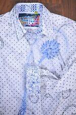 Robert Graham LS Button Front Shirt Blue Embroidered Men's 3XL
