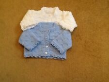 IDEAL FOR TWINS:  BEAUTIFUL HAND KNITTED CARDIGANS FOR 0-3 MONTHS