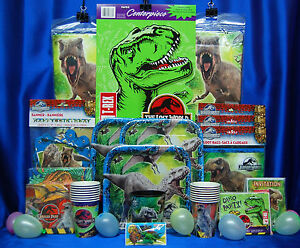 Jurassic Park Party Set # 20 Cups Napkins Plates Tablecover Invite Banner Topper