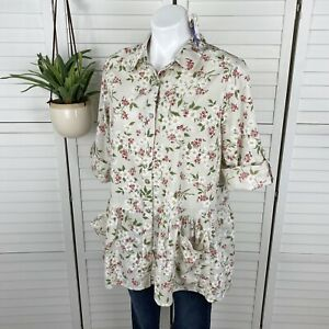 New April Cornell Floral Peplum Tunic Blouse Top Roll Tab Sleeve Pockets Size L