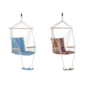 Garden Outdoor Hammock w/ Footrest Armrest Patio Swing Seat Hanging Rope