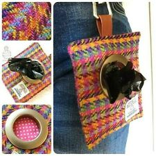 HARRIS TWEED DOG WALKING POOP BAG DISPENSER RAINBOW CHECK PRIDE HOLDER POUCH
