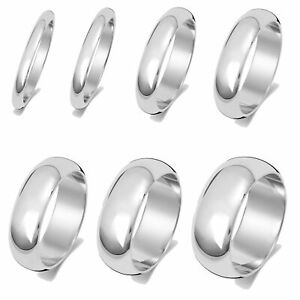 Solid 9ct Carat White Gold 2, 2.5, 3, 4, 5, 6, 7, 8mm D Shape Wedding Band/Ring
