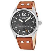 Stuhrling Original 447 02 Aviator Quartz Day Date Brown Leather Strap Mens Watch
