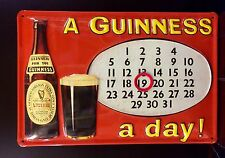 GUINNESS Calendar Vtg Metal Pub Sign 3D Embossed Steel Decor,Irish
