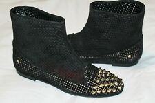 $749 CESARE PACIOTTI 7.5 37.5 Black Flat Studded Perforated Suede Ankle Boots