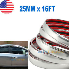 25mm x 16ft Chrome Silver Moulding Trim Car Bumper Protector Strip Offroad Truck