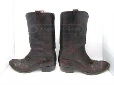 Lucchese Classic Black Cherry Ostrich Leather Western Cowboy Boots Sz 9 EE