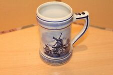 DELFTS BLUE & WHITE TANKARD WITH SAILING SHIPS & WINDMILL