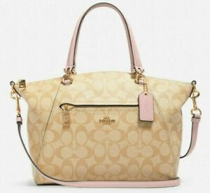 New Coach 79998 Prairie Satchel Canvas & Leather handbag Light Khaki Blossom