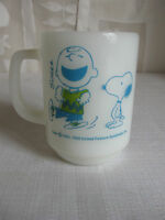 Vintage Anchor Hocking Fire King Mug Cup Peanuts Snoopy Charlie Brown Confident