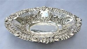 Antique English Edwardian Oval Repousse Reticulated Sterling Silver Bowl 1905