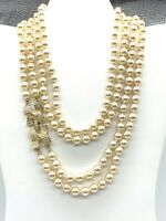Vintage KJL Necklace Kenneth Lane Couture Faux Pearl Rhinestone Gold Plate Opera
