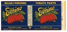 TORINO Brand, Salsa di Pomidoro, Tomato, AN ORIGINAL 1930's TIN CAN LABEL!