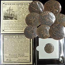 (1) 1726-1794 Dutch Voc Copper Duit Ship Coin East India Co. 1St New York Penny