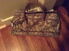 French Luggage Company Gray Rose Tapestry Large Satchel Suitcase