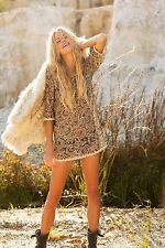 Rare SOLD OUT FREE PEOPLE black gold shimmer lace festival mini dress tunic S M
